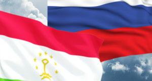 Флаги РФ и Таджикистана
