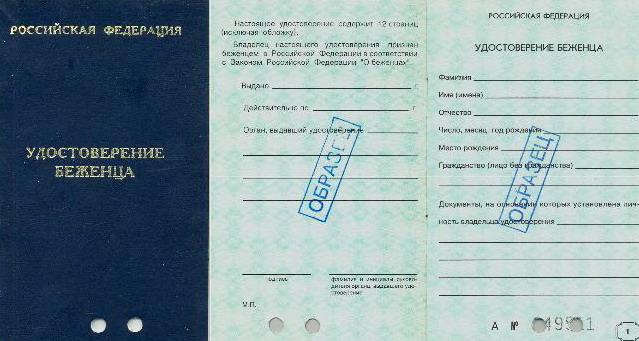 удостоверение беженца в России